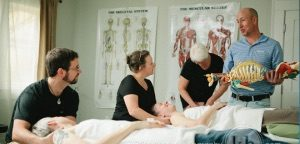 Kyle C. Wright Demonstrating to a Class of Advanced Bodywork Students of Medical Massage Therapy Near Asheville NC in Fairview